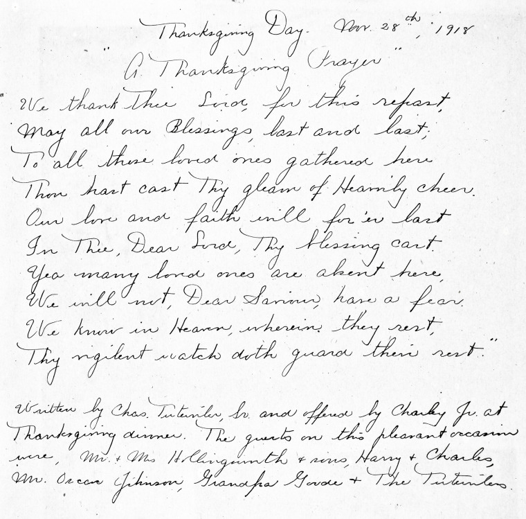 Thanksgiving Day Nov. 28th, 1918 at the Charles A, Tutewiler Home (My Great-Grandfather)